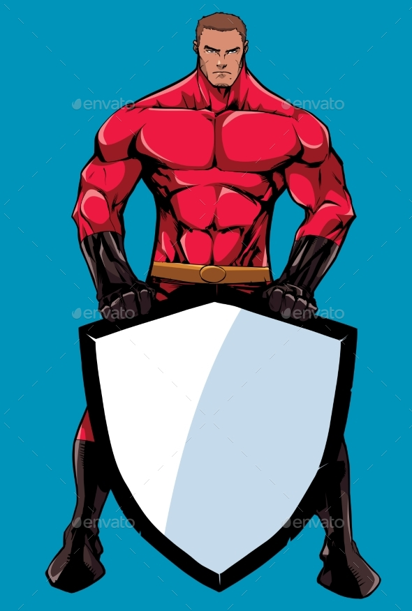 Superhero Holding Shield 2 - People Characters