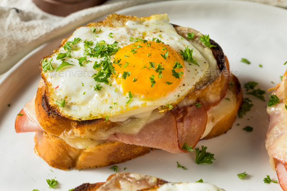 Homemade French Croque Madame Sandwich - Stock Photo - Images