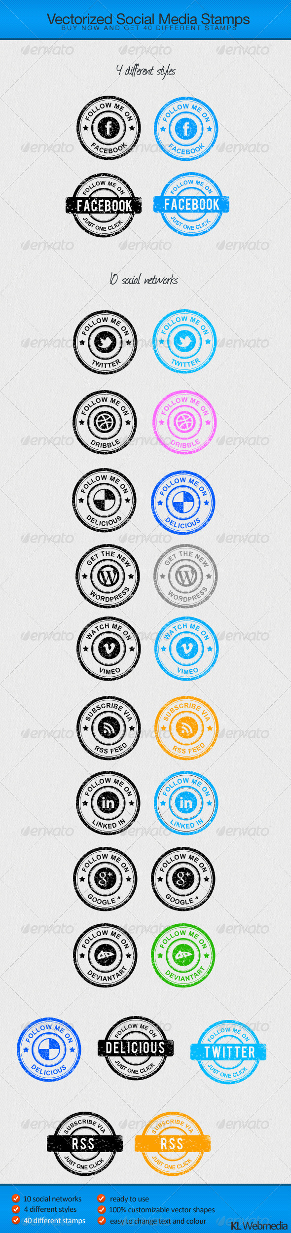 Social Media Stamps - Badges & Stickers Web Elements