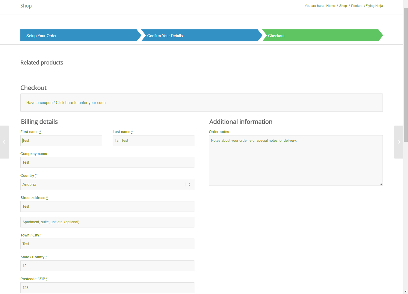 woocommerce one page product cart checkout by rednumber
