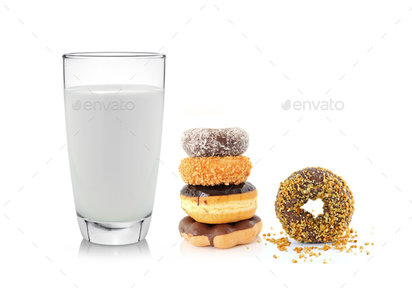 glass of milk and donut isolated on white background - Stock Photo - Images