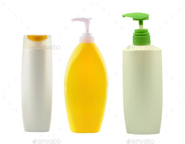 shampoo bottle on white background - Stock Photo - Images