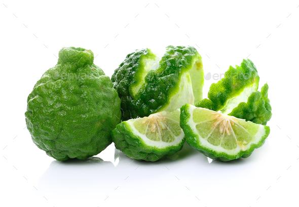 Bergamot fruit on white background - Stock Photo - Images