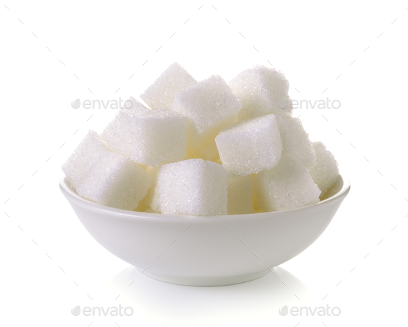 Sugar cubes in a bowl isolated on white background - Stock Photo - Images