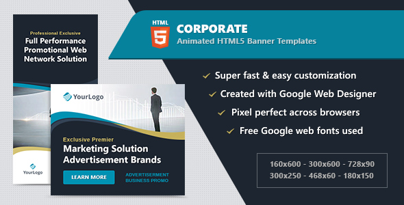 HTML5 Animated Banner Ads - Corporate (GWD)            Nulled
