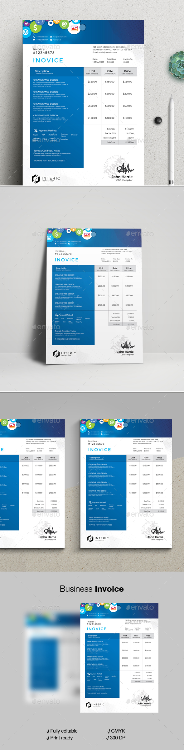 Social Media Invoice Template - Stationery Print Templates