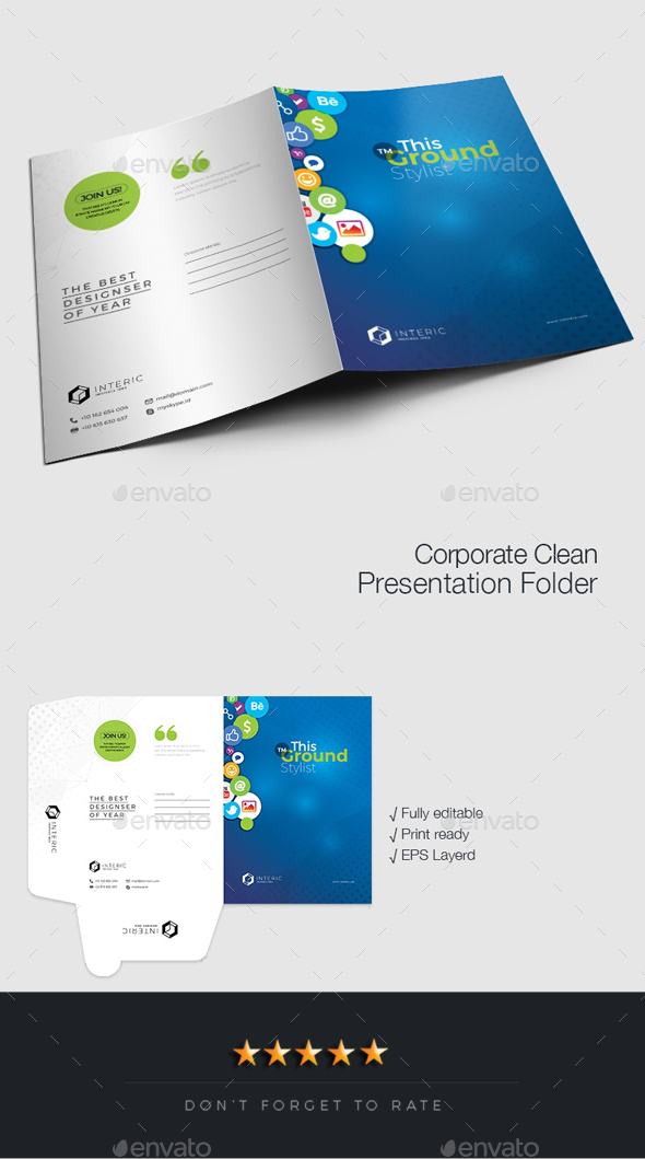 Social Media Presentation Folder - Stationery Print Templates