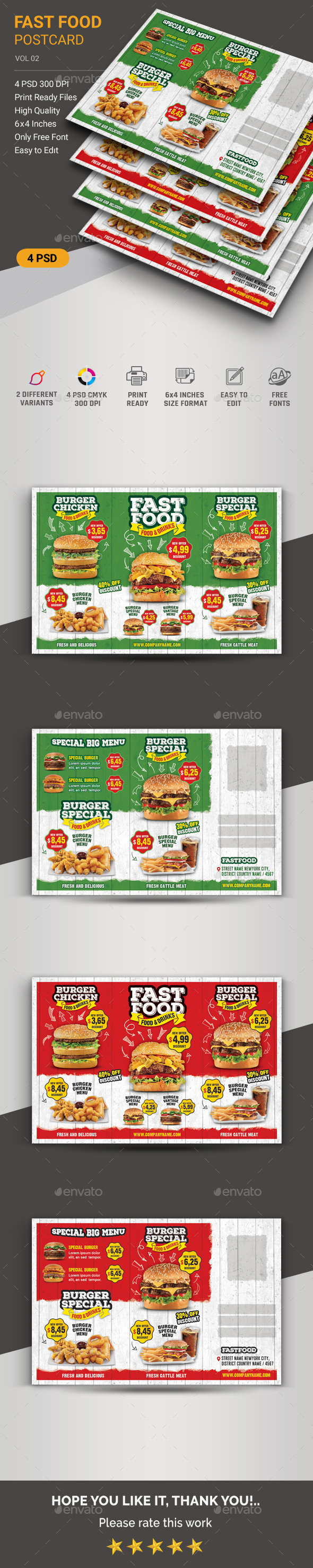 Restaurant Postcard - Cards & Invites Print Templates
