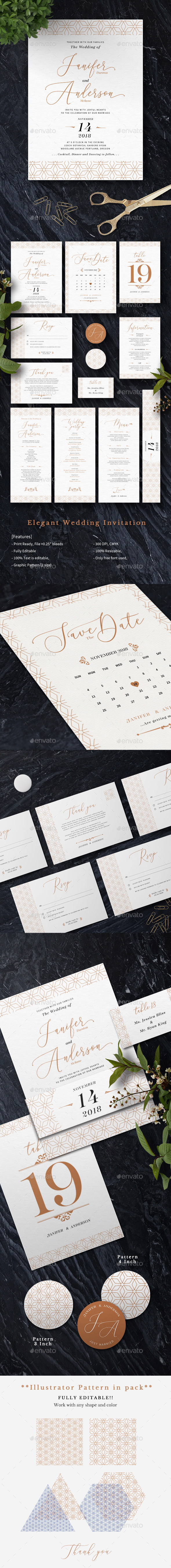 Elegant Wedding Invitation - Cards & Invites Print Templates