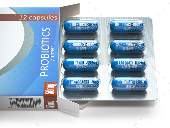 Probiotics. Blister box with all types of probiotics capsules. P - Stock Photo - Images