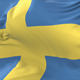 Sweden Flag Waving at Wind