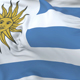 Flag of Uruguay Waving at Wind