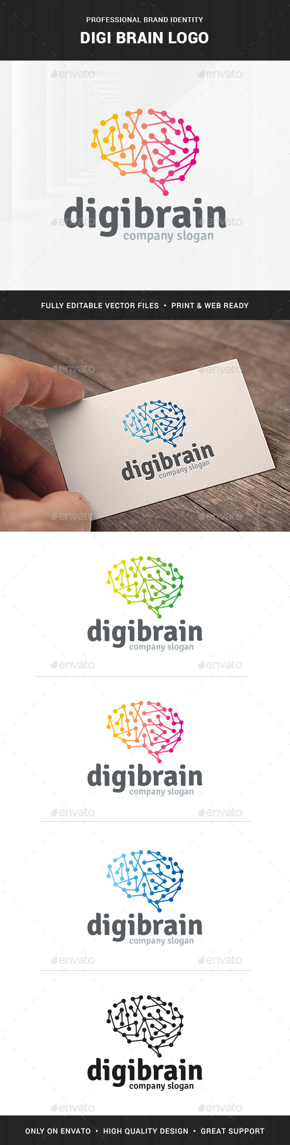 Digi Brain Logo Template - Abstract Logo Templates
