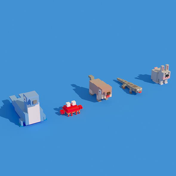 Low Poly Animals Seal Crab Rabbit - 3DOcean Item for Sale