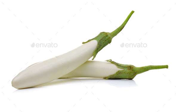 White eggplant on a over white background - Stock Photo - Images