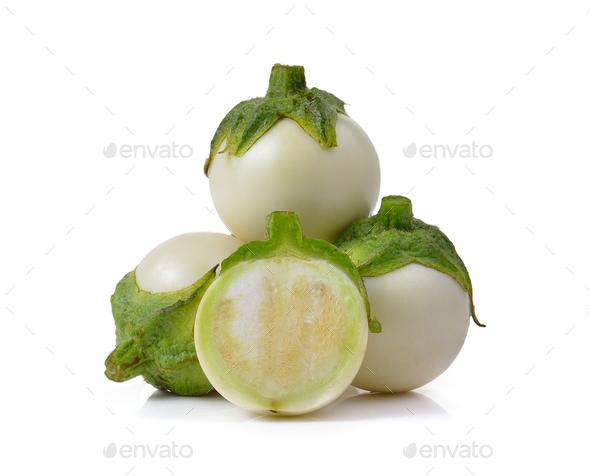 White eggplant isolated on a white background - Stock Photo - Images