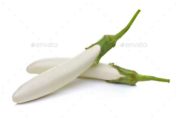 White eggplant isolated on a white background - Stock Photo - Images