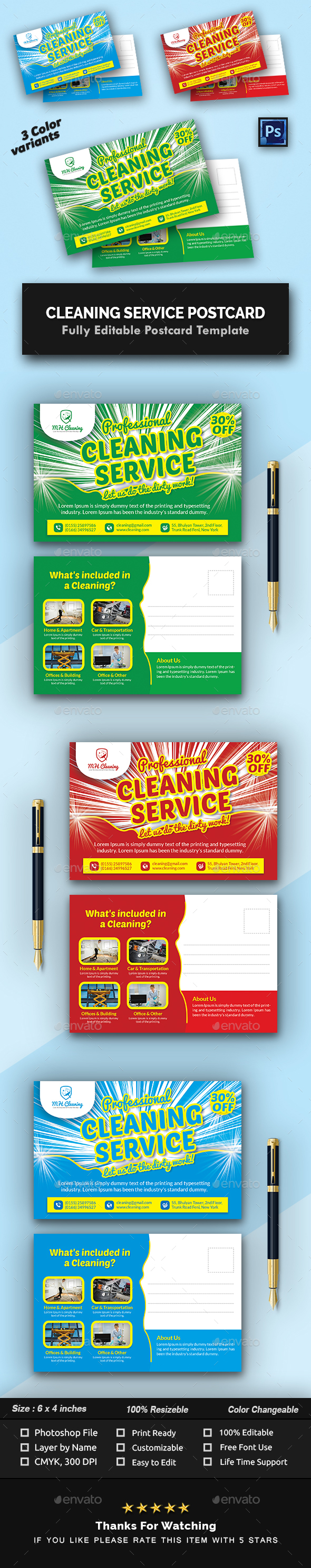 Cleaning Services Postcard Templates - Cards & Invites Print Templates