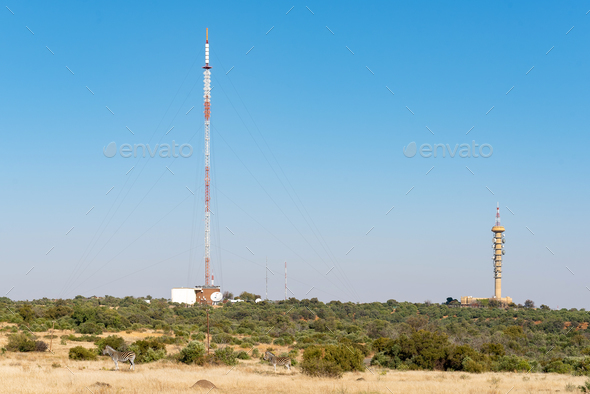 Microwave telecommunications and TV and radio broadcast towers in Bloemfontein - Stock Photo - Images