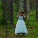Little emotional girl walks in a summer forest in a dress - PhotoDune Item for Sale