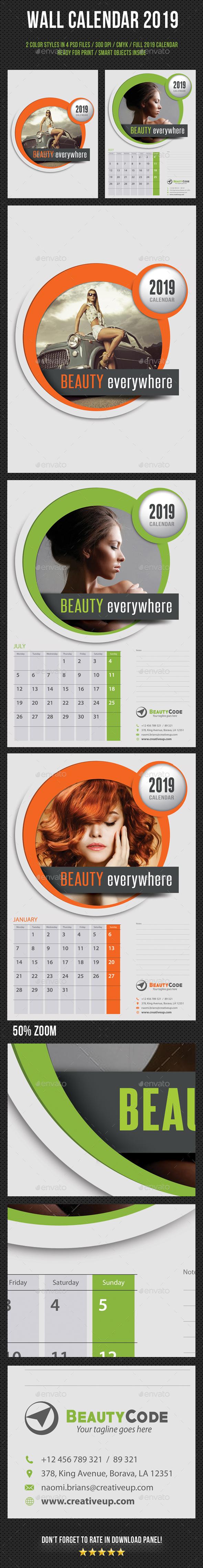 Wall Calendar 2019 V05 - Calendars Stationery