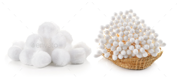 cotton bud and cotton wool in the basket on white background - Stock Photo - Images