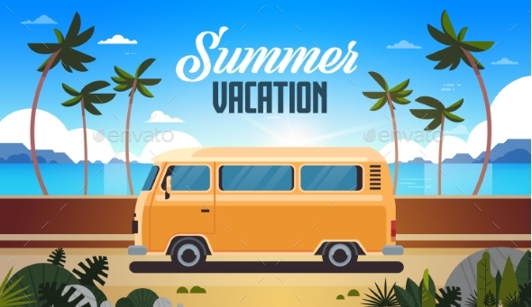 Summer Vacation Surf Bus Sunrise Tropical Beach - Miscellaneous Seasons/Holidays