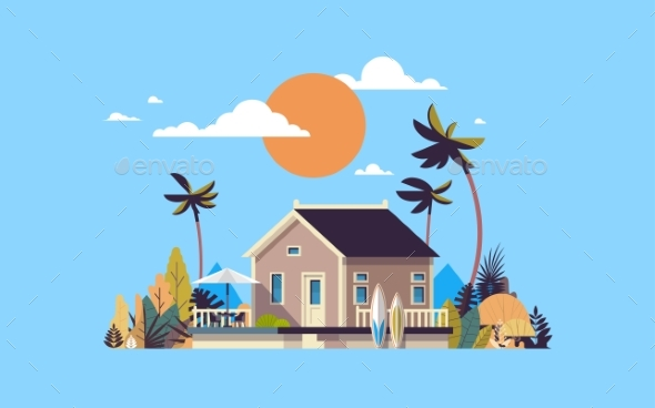 Summer Villa House Umbrella Surf Board Sunset - Buildings Objects