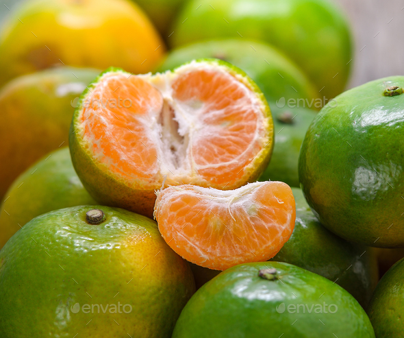 Oranges  on a wooden table - Stock Photo - Images