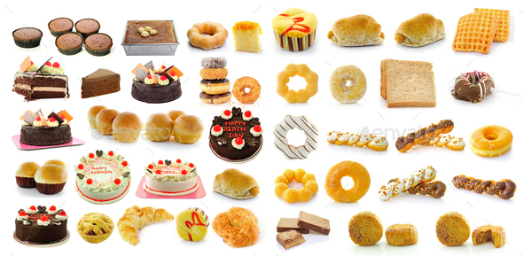 Bread, donuts, cakes, bread, sausage,  Mooncakes isolated on whi - Stock Photo - Images
