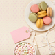 French colorful macaroons, marshmallows, git box and flowers - PhotoDune Item for Sale
