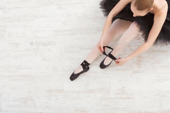 Beautiful graceful ballerina in black swan dress - Stock Photo - Images