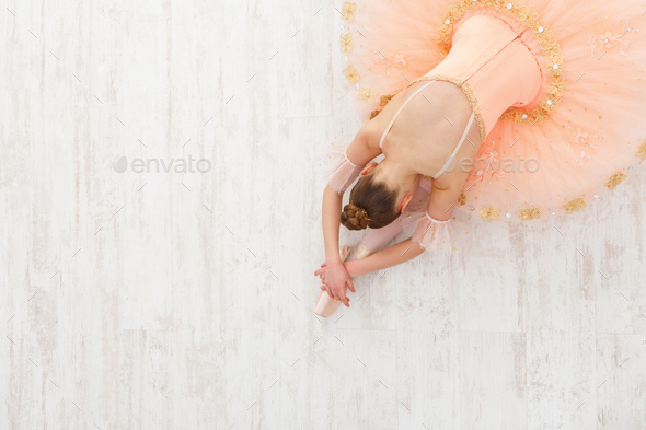 Ballet student exercising in ballet costume - Stock Photo - Images