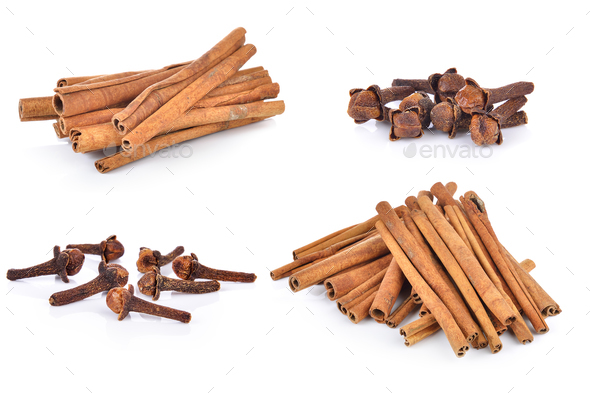 Spice cloves and cinnamon on white background - Stock Photo - Images