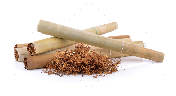 Tobacco pile and cigarette - Stock Photo - Images
