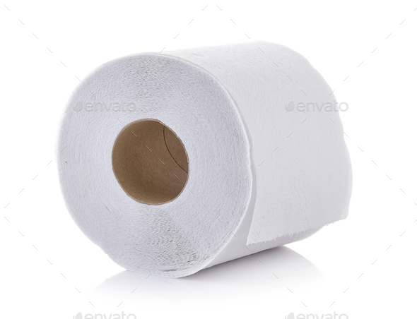 toilet paper on white background - Stock Photo - Images