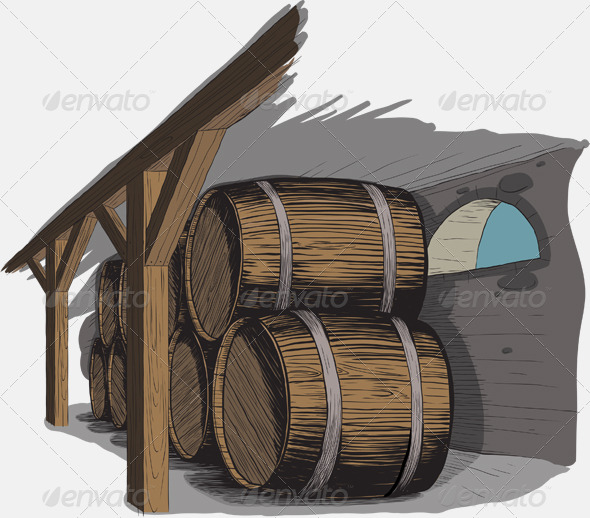 Old wine cellar with rows of barrels - Buildings Objects