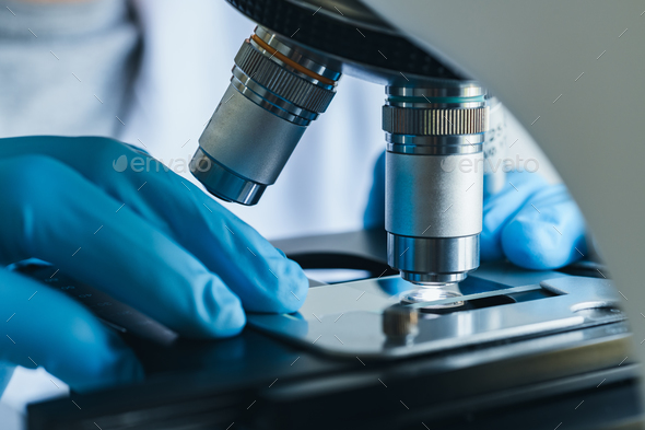 Microscope close-up shot in the laboratory - Stock Photo - Images