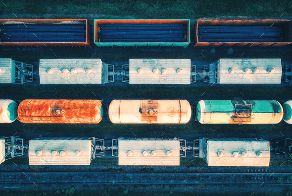 Aerial view of cargo trains. Railway wagons - Stock Photo - Images