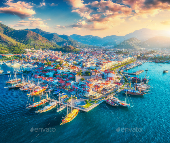 Aerial view of boats and yahts and beautiful city at sunset - Stock Photo - Images