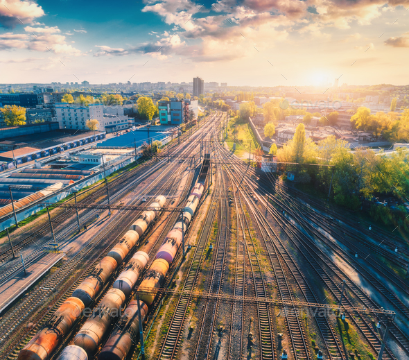 Aerial view of freight ñargo trains. Railway station - Stock Photo - Images