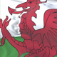 Wales Flag Waving at Wind