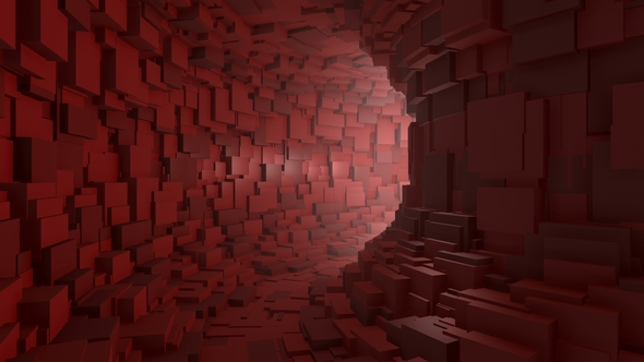 Fly Through an Endless Red Tunnel