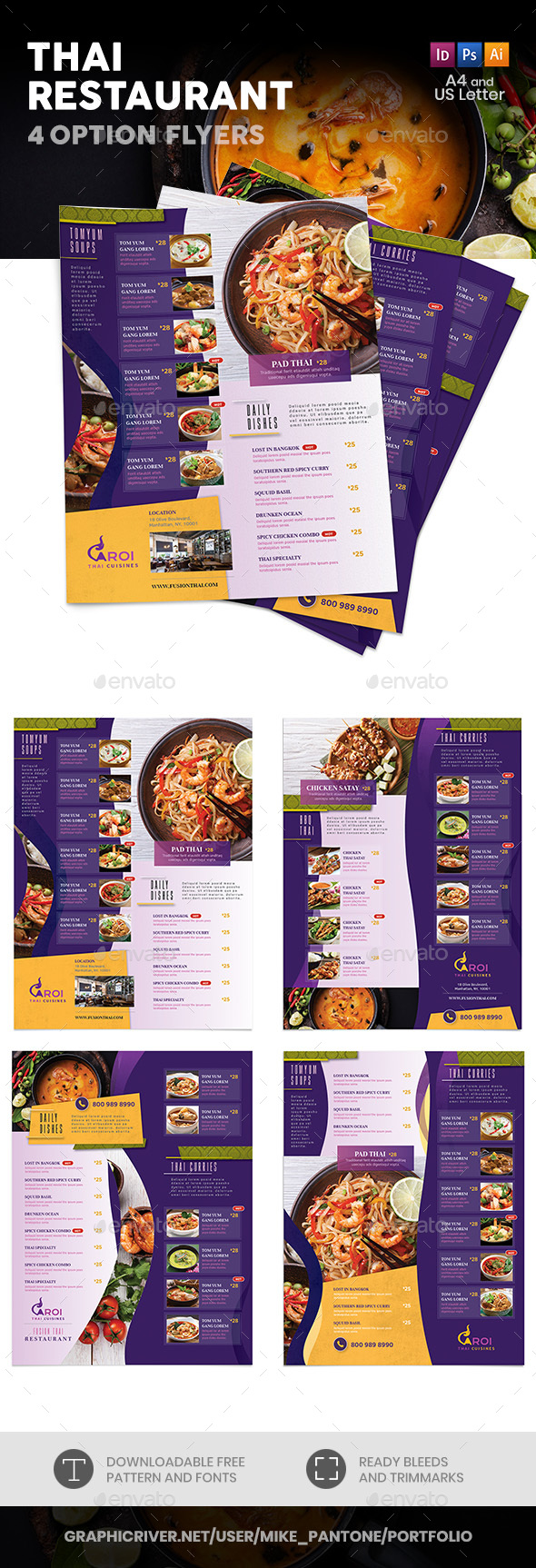 Thai Restaurant Menu Flyers 5  4 Options