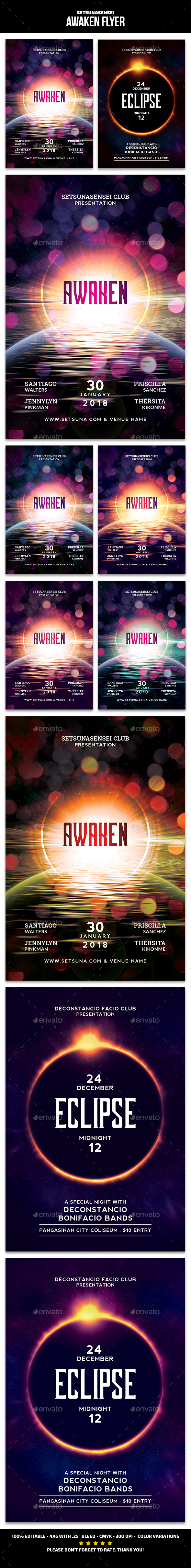 Awaken and Eclipse Flyer - Events Flyers