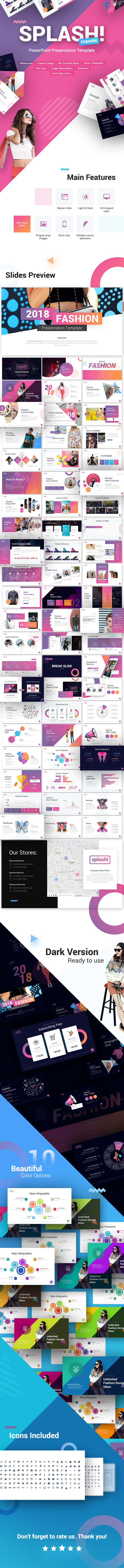 Splash Fashion PowerPoint Presentation Template - PowerPoint Templates Presentation Templates