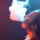 Young Woman in Bright Lights with Colorful Smoke - VideoHive Item for Sale