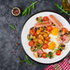English breakfast - fried egg, beans, tomatoes, mushrooms, bacon and sausage.  - PhotoDune Item for Sale