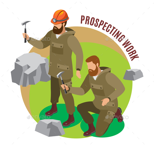 Prospecting Work Isometric Composition - People Characters