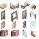 PVC Windows Production Isometric Icons